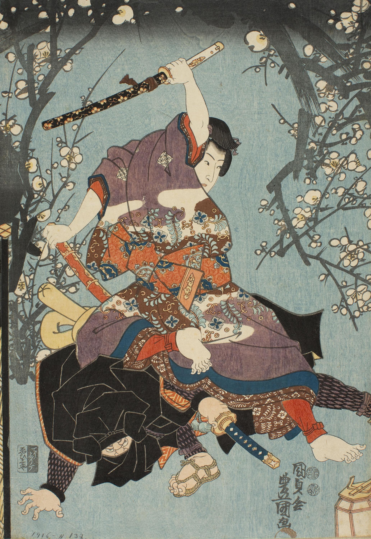 Utagawa Kunisada (Toyokuni III) - El segon mes (Kisaragi). Any d'esdeveniments del jove Murasaki (Wakamurasaki nenjû gyôji no uchi) - Cap a 1849-1850