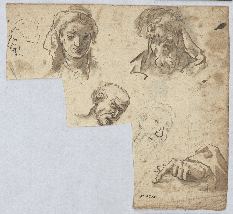 Antoni Viladomat - Study of heads and a hand - Circa 1730-1755
