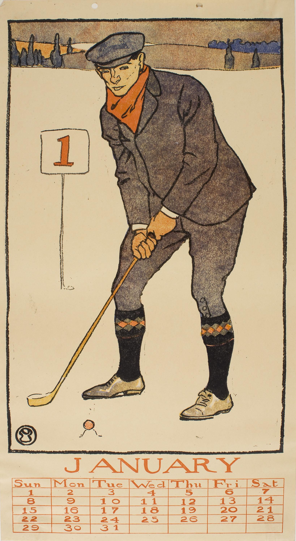 Edward Penfield - January (Golf Calendar) - 1899