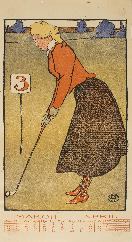Edward Penfield - March, April (Golf Calendar) - 1899