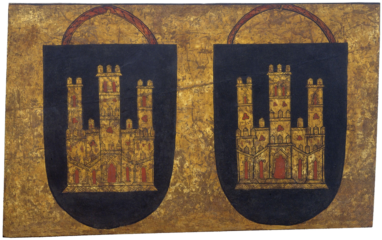 Anònim. Castella - Dos escuts amb castell de tres torres - Cap a 1295