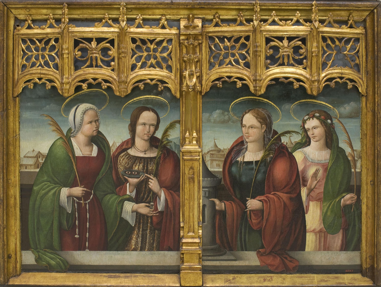 Andrés de Melgar (Mestre de Támara) - Santes Apol·lònia, Llúcia i Bàrbara i una altra santa màrtir - 1530-1537