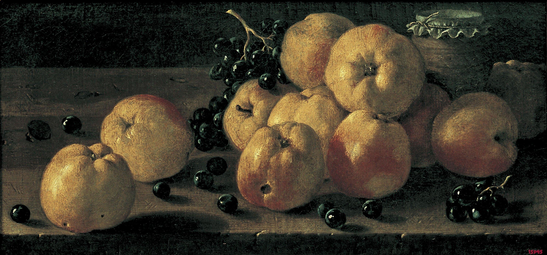Luis Egidio Meléndez - Natura morta amb pomes, raïm i un pot de confitura - Segona meitat del segle XVIII