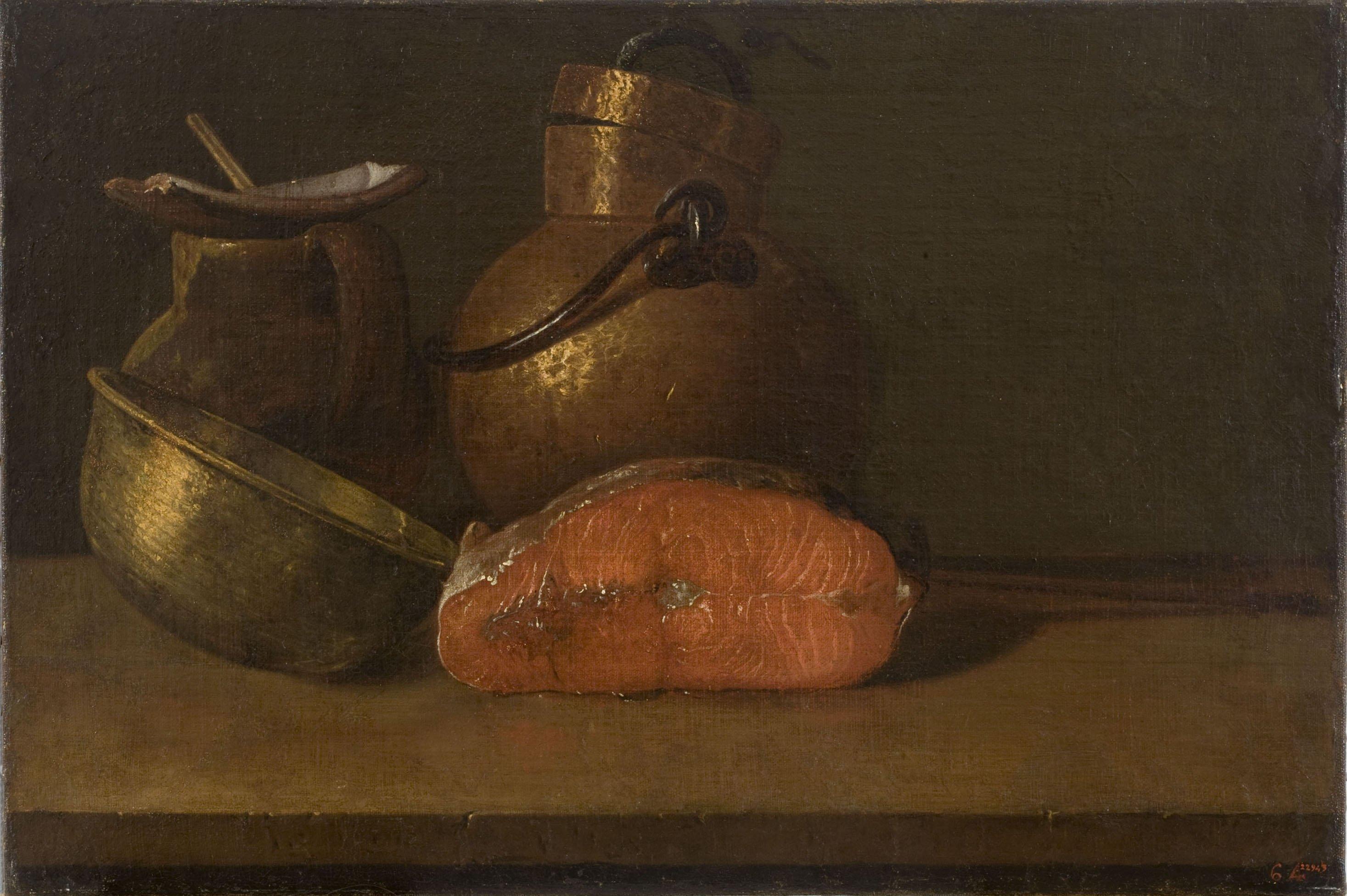 Luis Egidio Meléndez - Natura morta amb salmó i estris de cuina - Entre 1772-1780