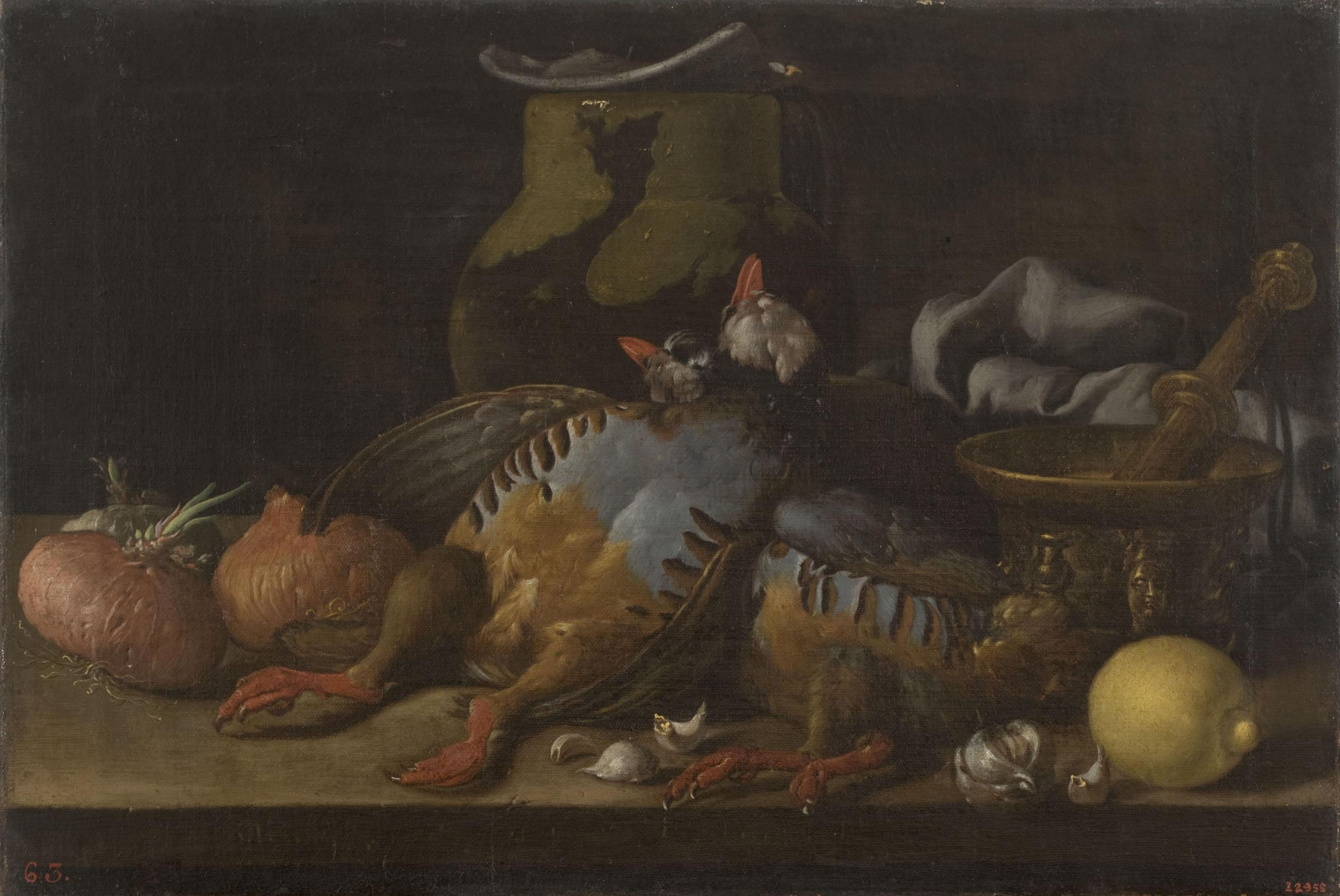 Luis Egidio Meléndez - Still Life with Partridges, Onions, Lemon and Kitchen Utensils - Circa 1773-1780