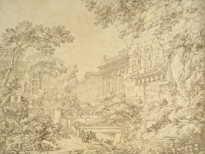 Antonio Basoli - Paisatge amb ruïnes clàssiques. Escenografia - 1810