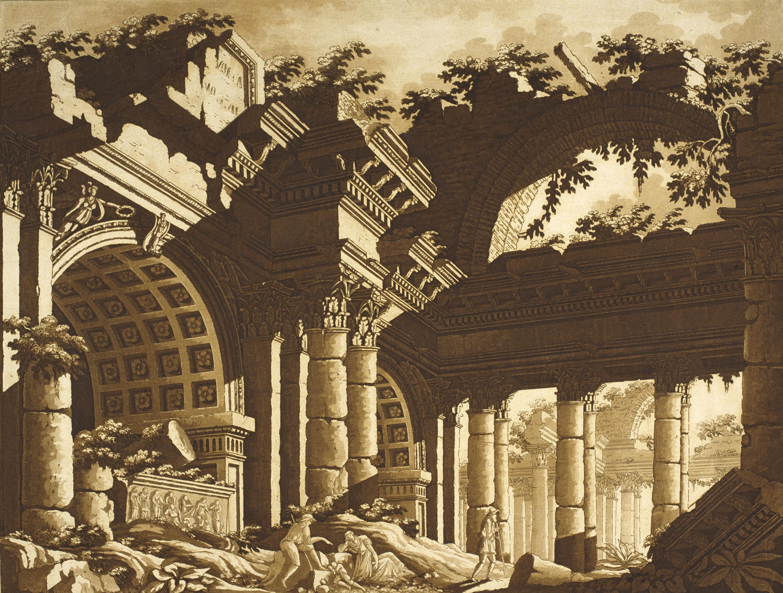 Lodovico Pozzetti - Ruïnes d'un temple - Posterior a 1817