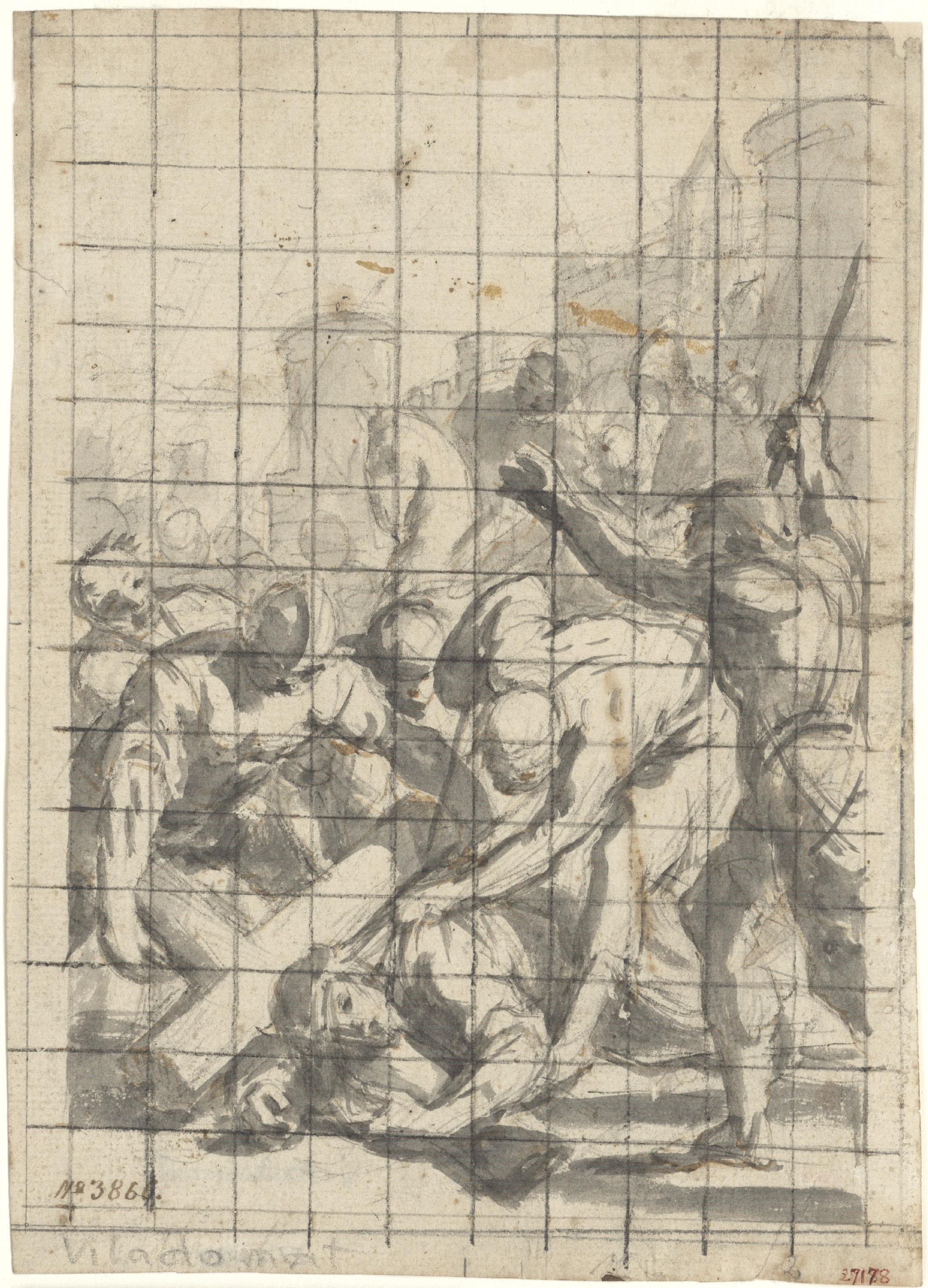 Antoni Viladomat - Estudi per al quadre «Tercera caiguda de Jesús (novena estació del Viacrucis)» de la capella dels Dolors de la basílica de Santa Maria de Mataró - Cap a 1727-1729