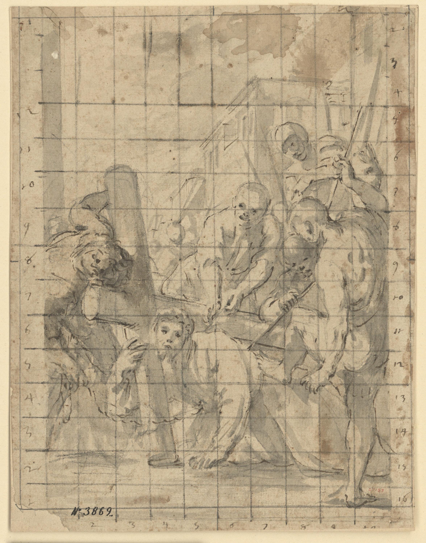 Antoni Viladomat - Estudi per al quadre «Primera caiguda de Jesús (tercera estació del Viacrucis)» de la capella dels Dolors de la basílica de Santa Maria de Mataró - Cap a 1727-1729