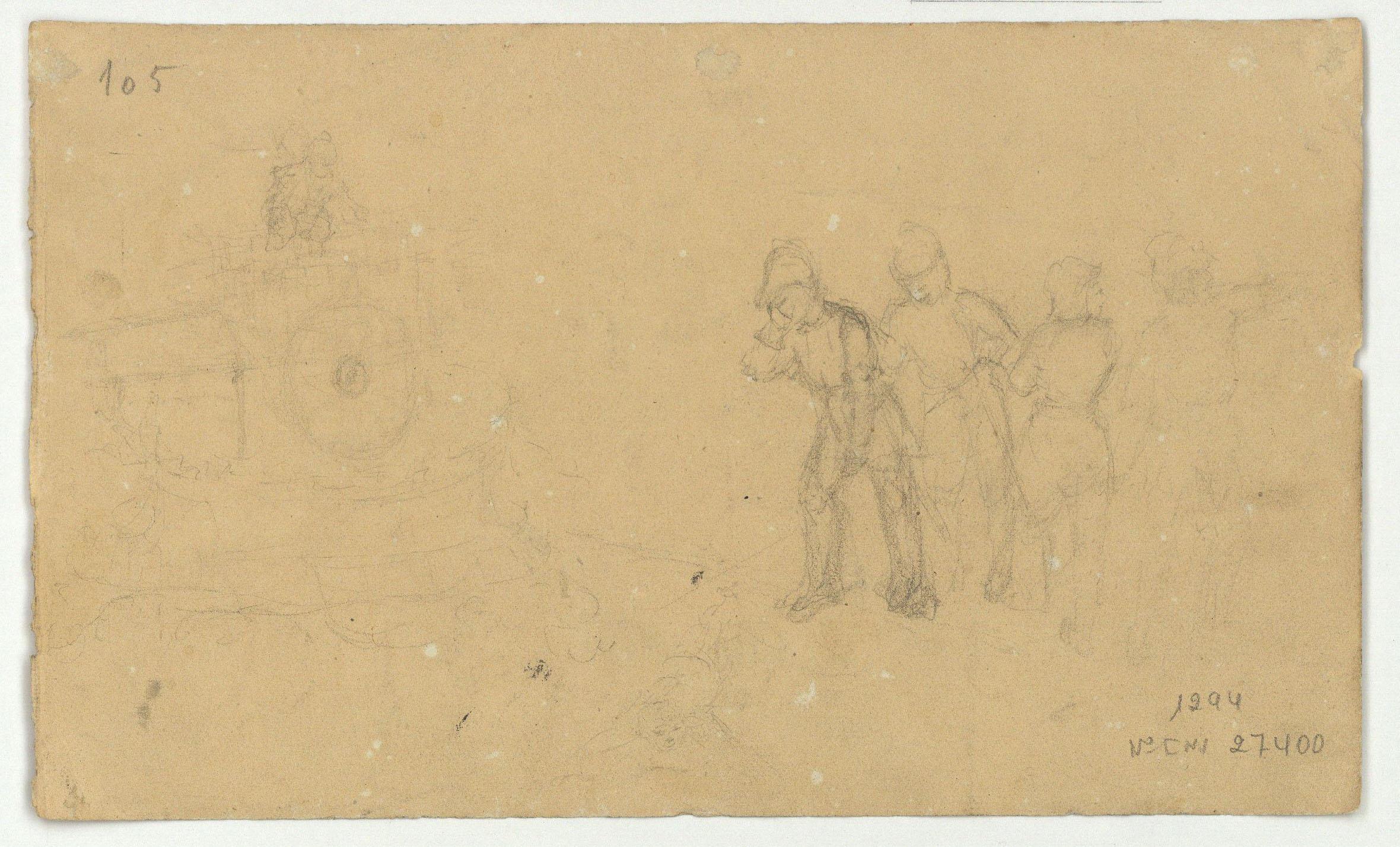 Marià Fortuny - Bust de jove (anvers) / Esbós de figures (revers) - Cap a 1856-1858 [1]