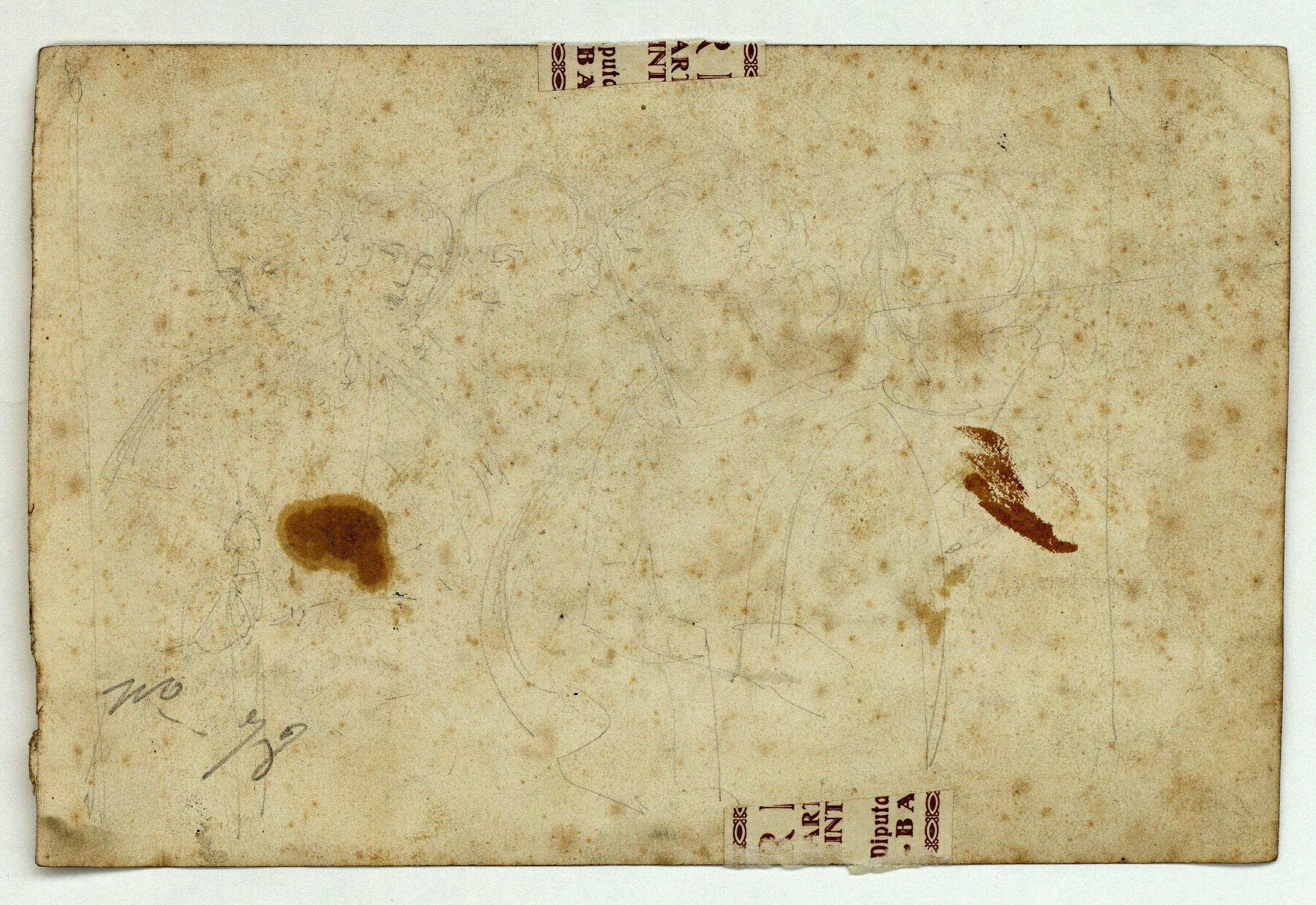 Marià Fortuny - Entrada de Crist a Jerusalem (anvers) / Croquis de figures (revers) - Cap a 1856-1858 [1]