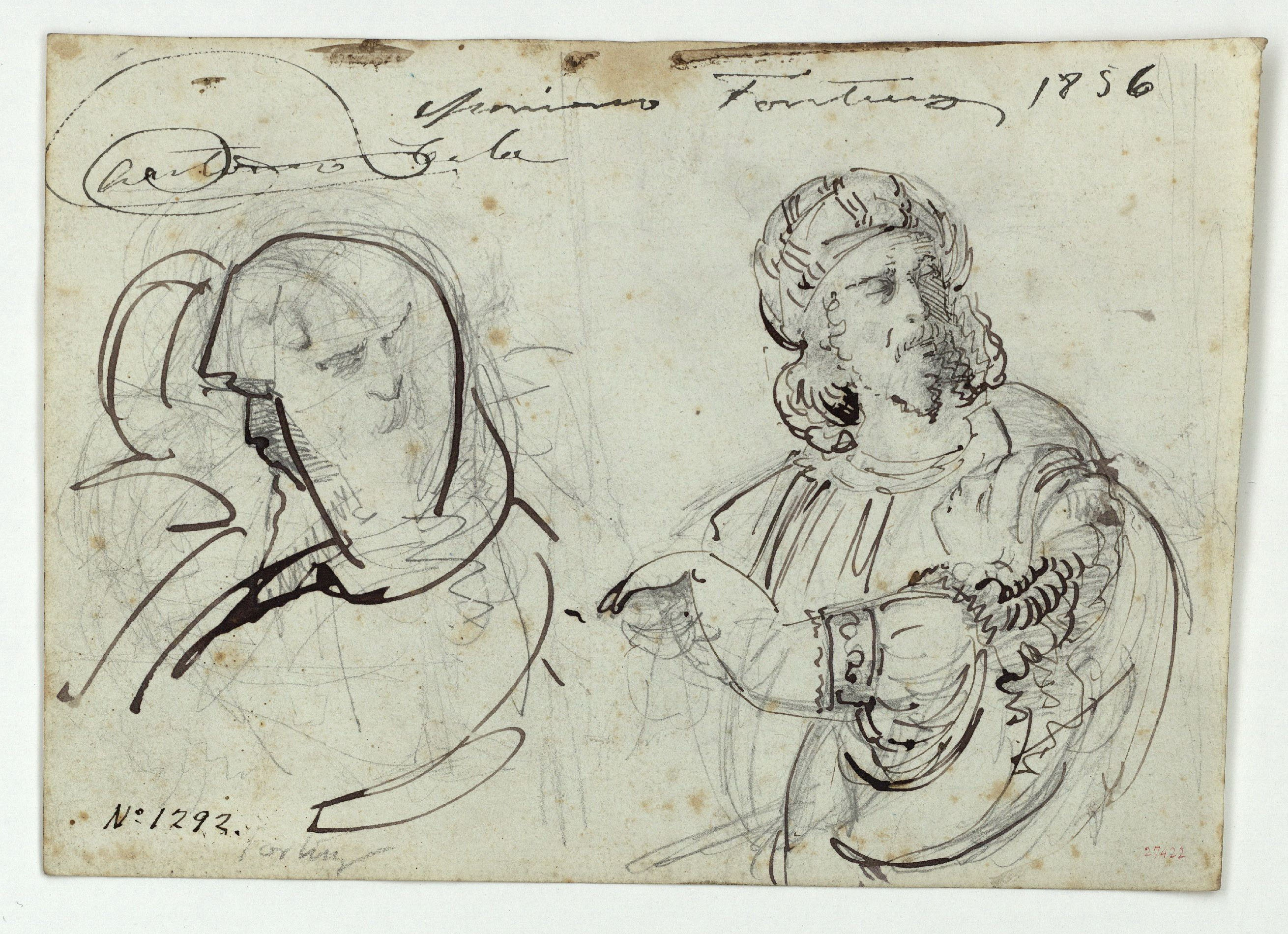Marià Fortuny - Figures masculines orientals (anvers) / Cap de soldat i altres figures (revers) - Cap a 1856-1858