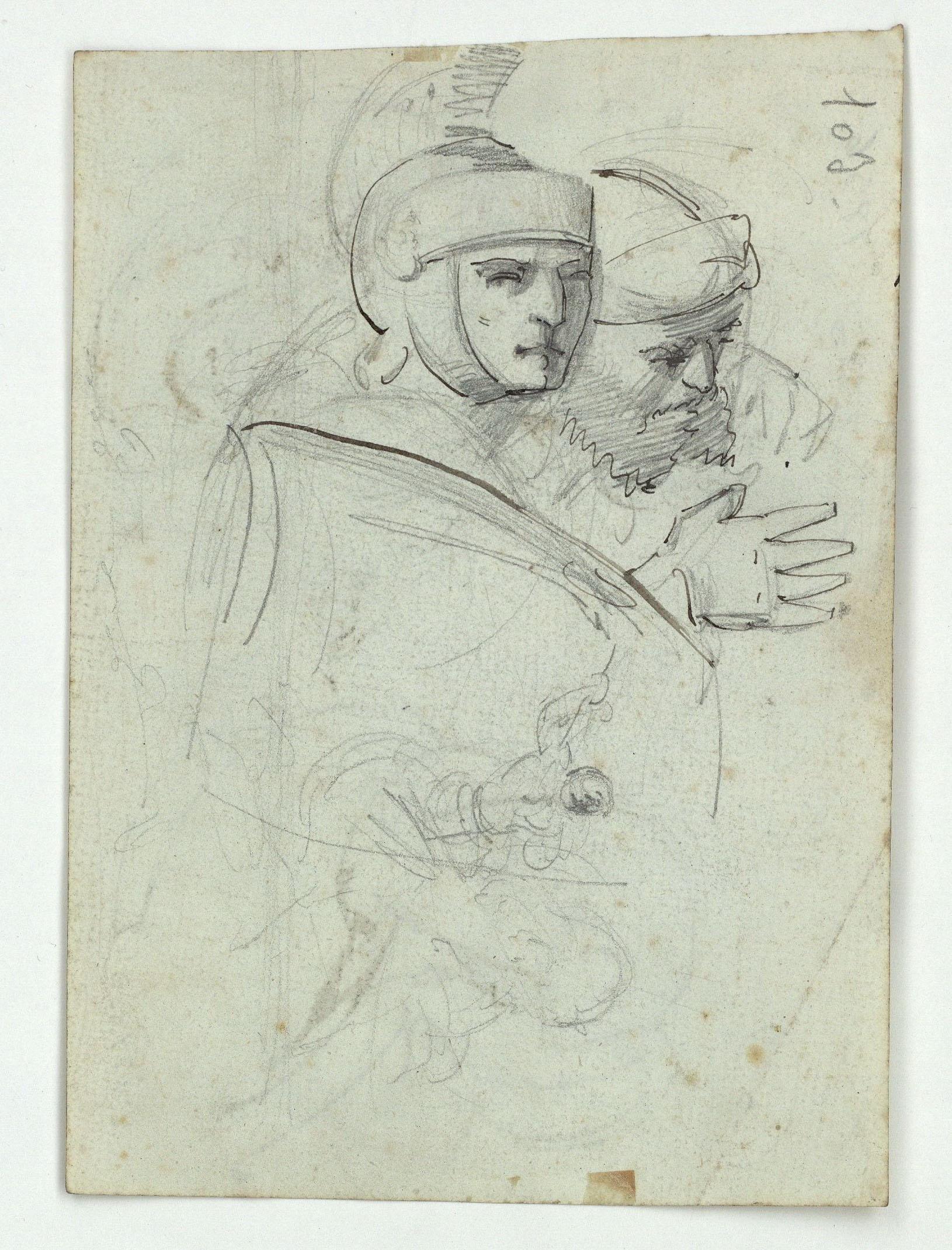 Marià Fortuny - Figures masculines orientals (anvers) / Cap de soldat i altres figures (revers) - Cap a 1856-1858 [1]