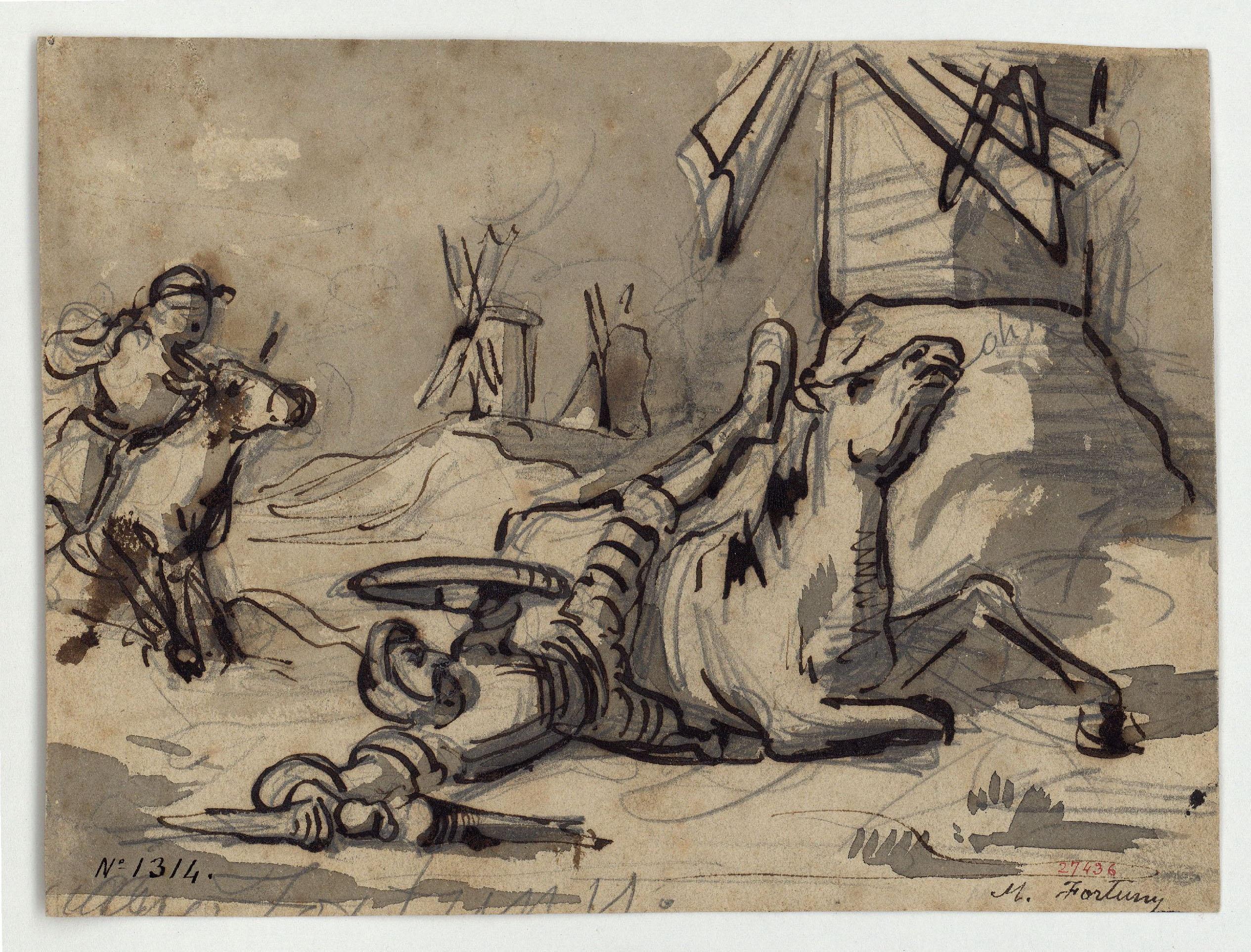 Marià Fortuny - L'aventura del Quixot amb els molins de vent (anvers) / Estudi de figures (revers) - Cap a 1855-1856