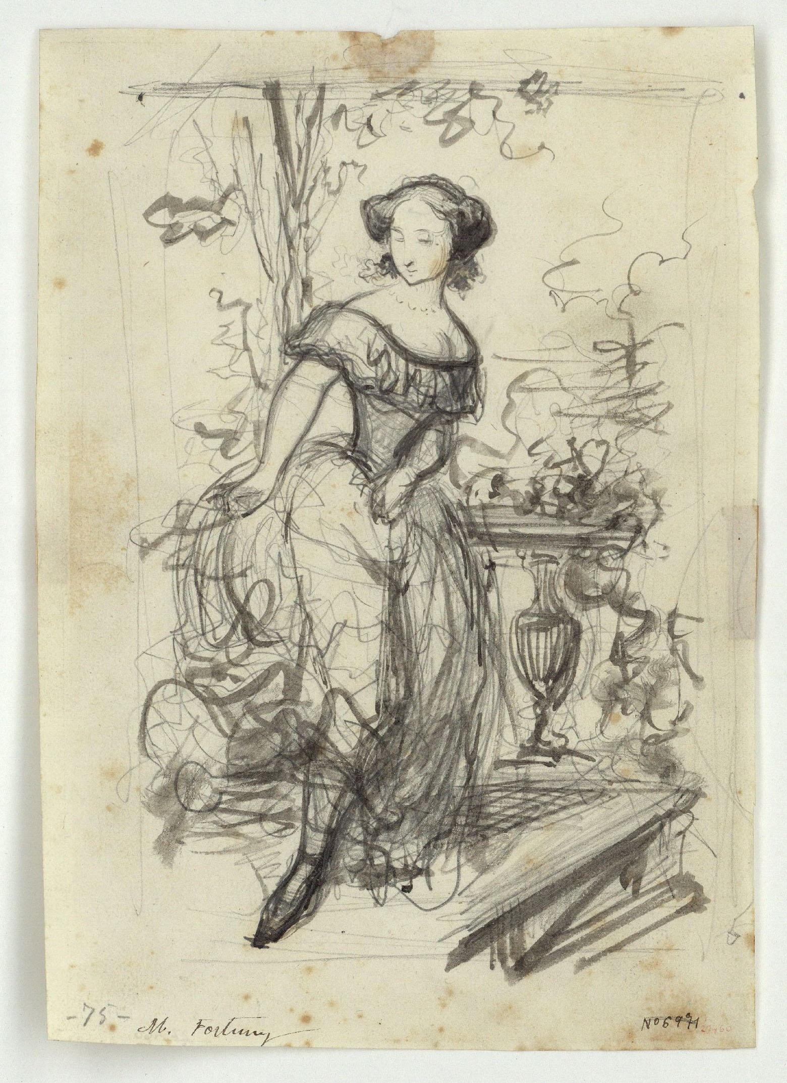 Marià Fortuny - Blanca. Ilustración para la novela «El mendigo hipócrita» de Alejandro Dumas (hijo) - Hacia 1856-1857