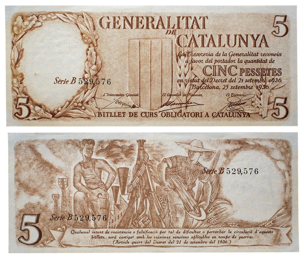 Generalitat de Catalunya Obiols Palau, Josep, Barcelona, 1894-1967 5 pessetes  25.09.1936