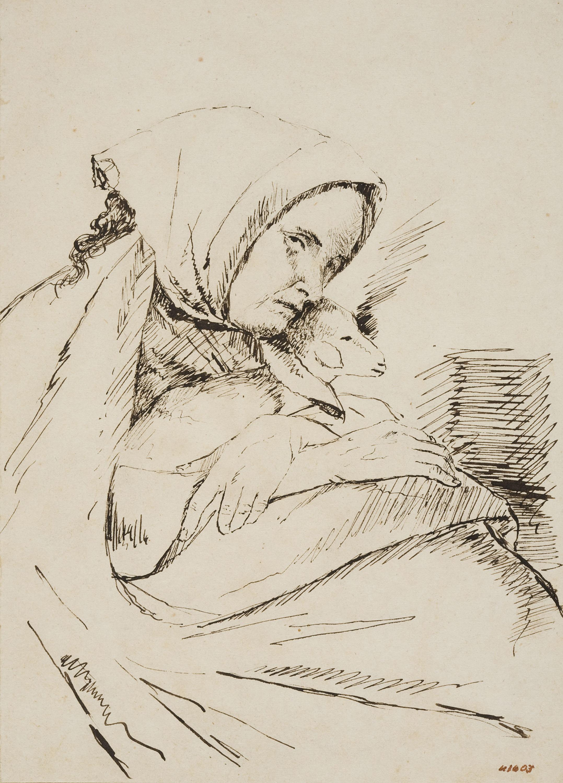 Francesc Gimeno - Dona amb un xai (anvers) / Apunt d'una llar de foc encesa, plantes i un rostre femení (revers) - Cap a 1875-1880