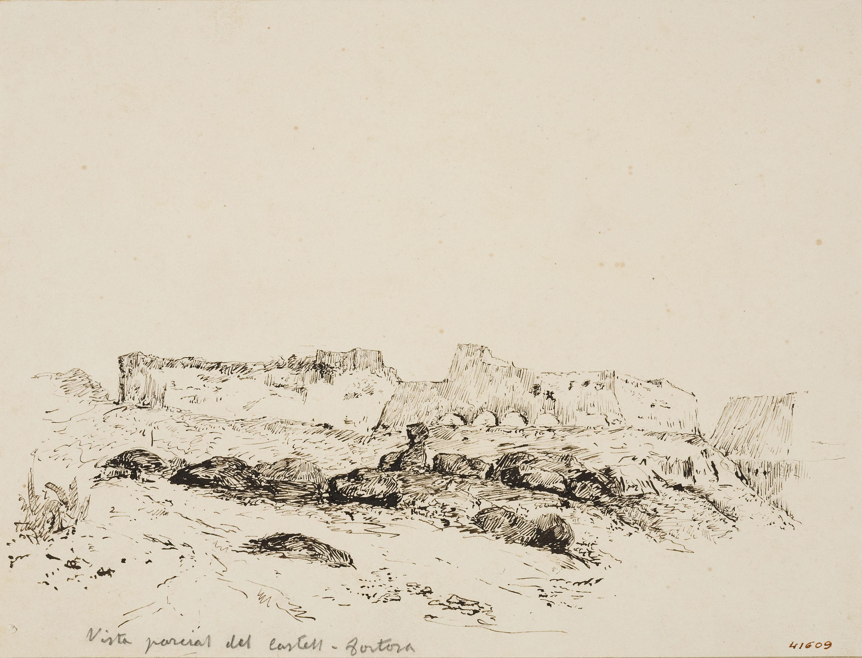 Francesc Gimeno - Vista parcial del Castell-Tortosa (anvers) / Estudi d'arbres (revers) - Cap a 1878