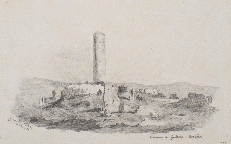 Francesc Gimeno - Ruïnes de Fullola-Tortosa (anvers) / Paisatge amb arbres (revers) - Cap a 1878