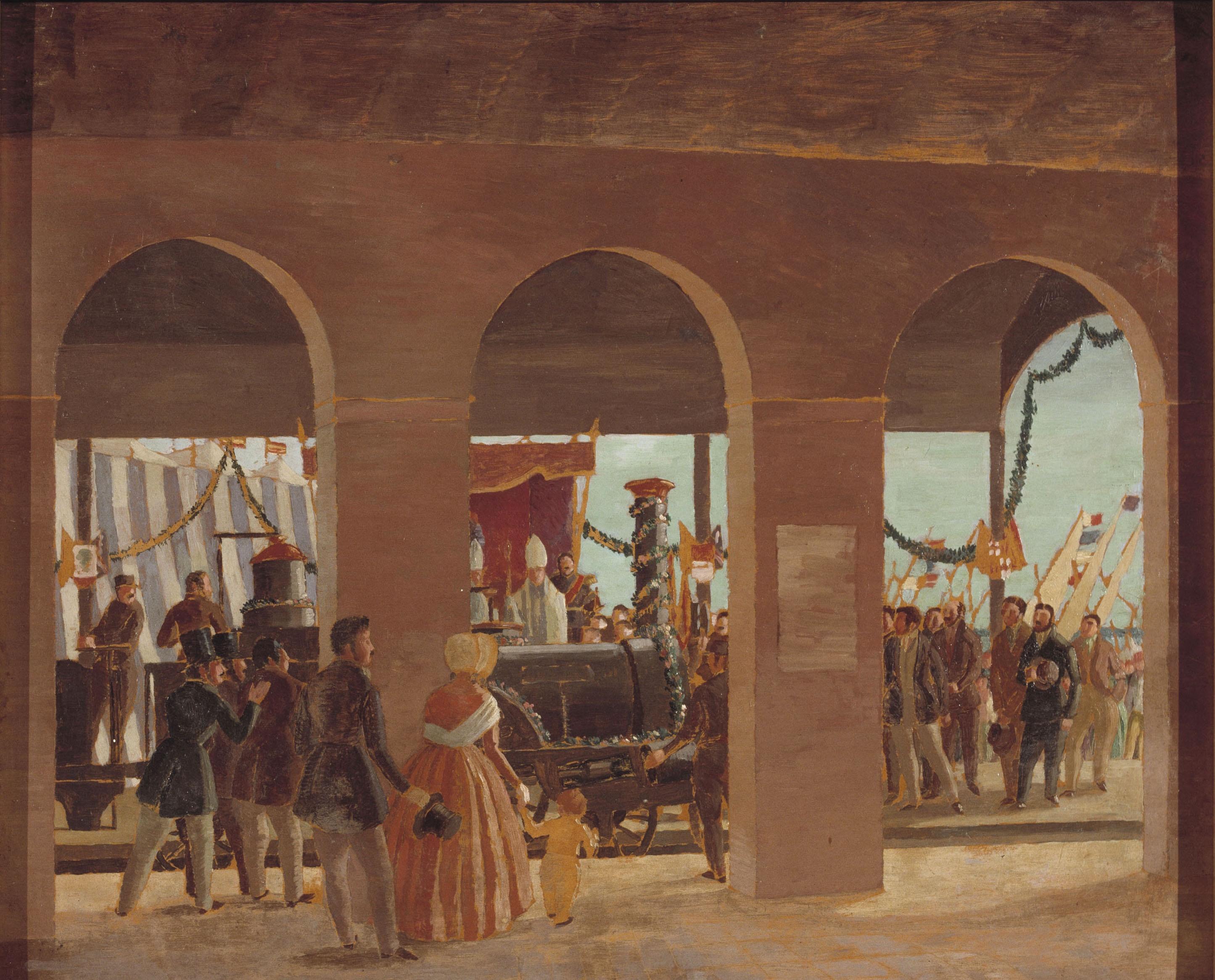 Xavier Nogués - Cerimònia de la inauguració del primer ferrocarril d'Espanya - Cap a 1928-1929