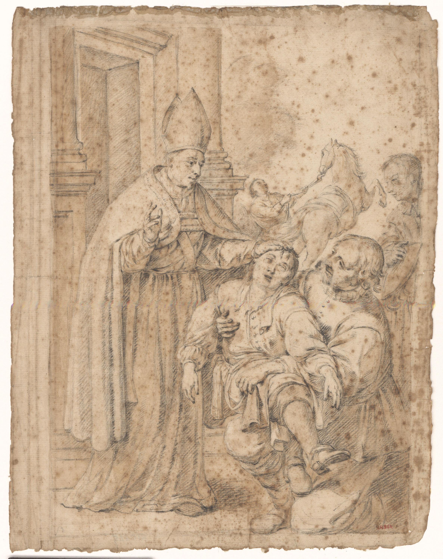 Antoni Viladomat - Sant Oleguer guarint un noi - Cap a 1730-1740