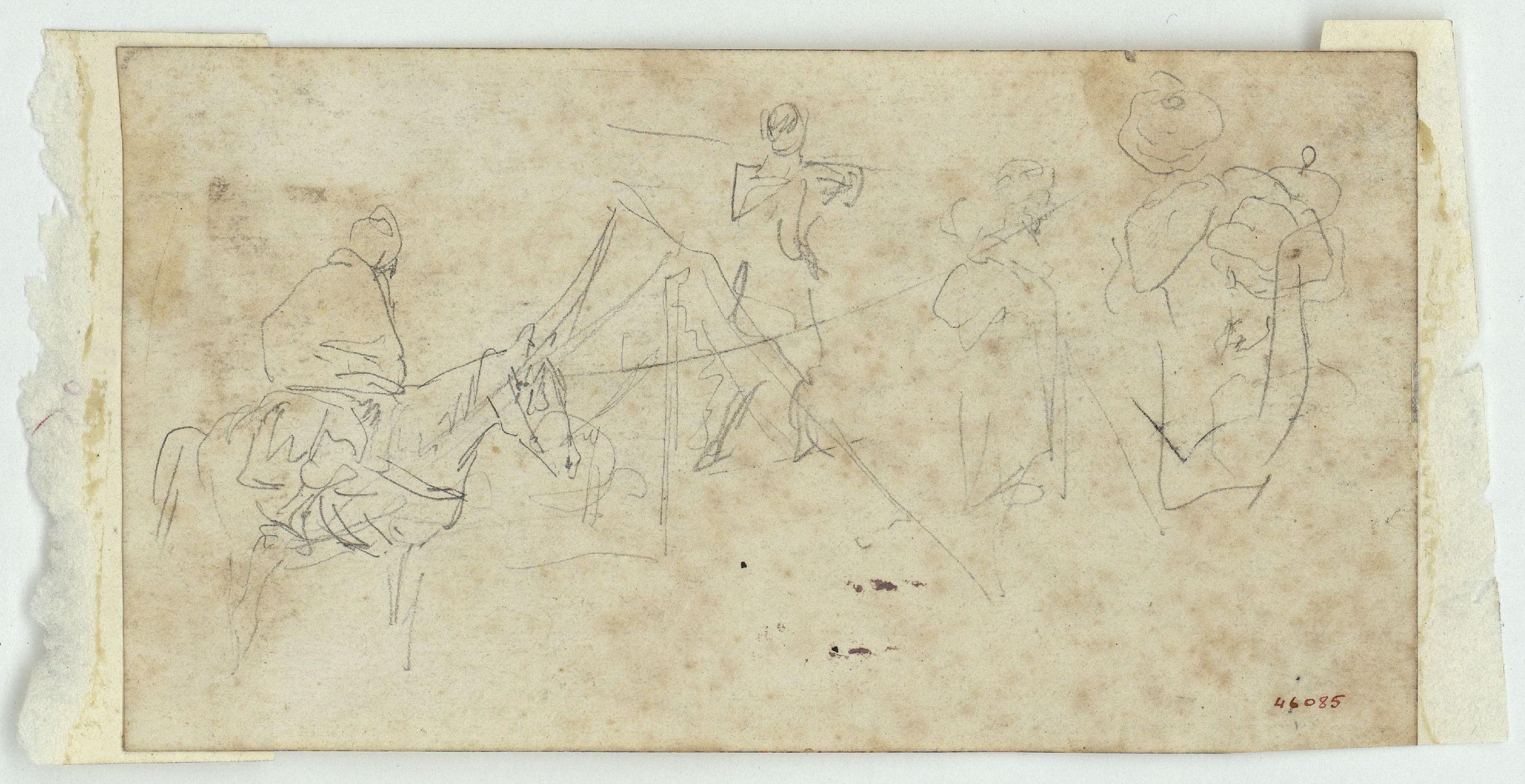 Marià Fortuny - Croquis de marroquí a cavall i altres figures (anvers) / Croquis de dos genets marroquins a cavall i una figura asseguda (revers) - Cap a 1860-1862