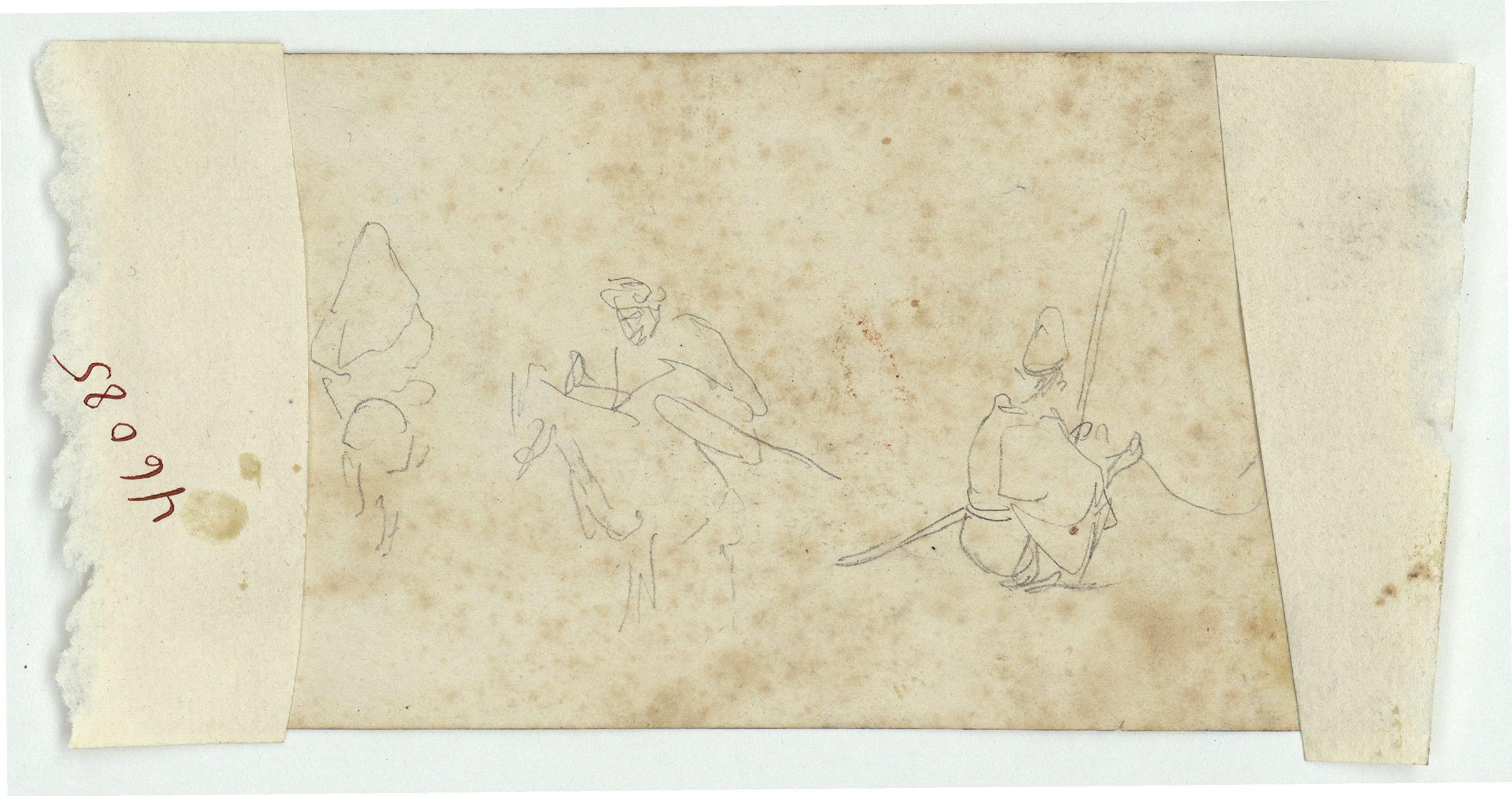 Marià Fortuny - Croquis de marroquí a cavall i altres figures (anvers) / Croquis de dos genets marroquins a cavall i una figura asseguda (revers) - Cap a 1860-1862 [1]