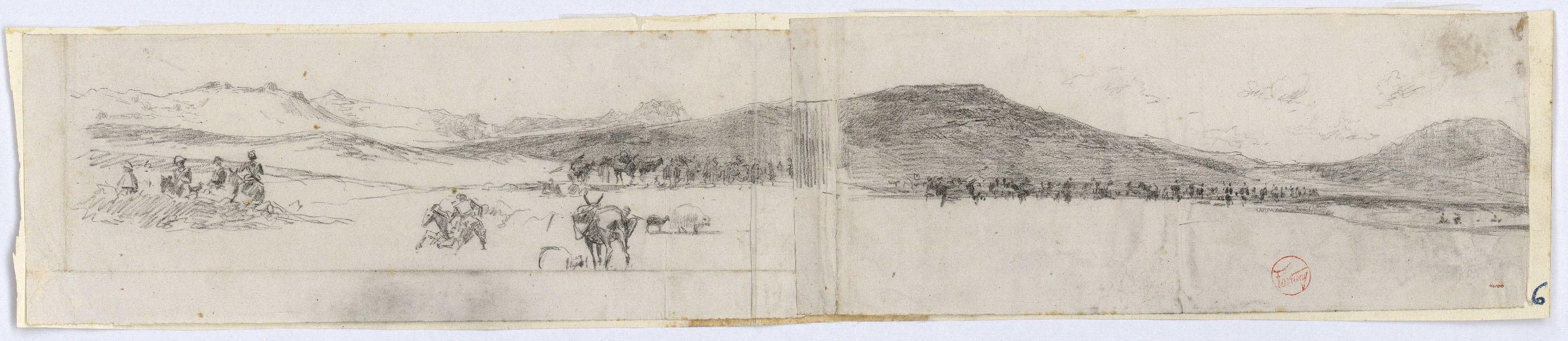 Marià Fortuny - Paisatge marroquí amb l'exèrcit espanyol - Cap a 1860