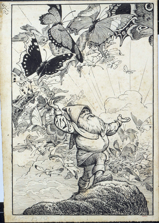 Apel·les Mestres - El papalló. Il·lustració per al poema «Liliana» d'Apel·les Mestres - 1906