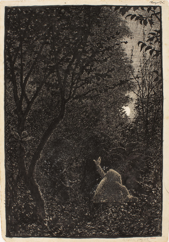 Apel·les Mestres - El rossinyol. Il·lustració per al poema «Liliana» d'Apel·les Mestres - 1905