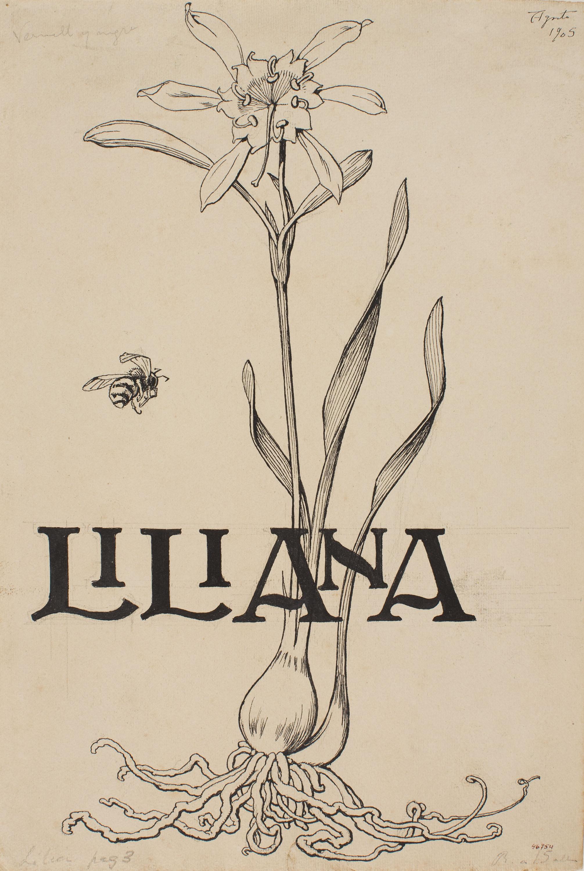 Apel·les Mestres - Sea daffodil and bee. Cover illustration for Apel·les Mestres's poem 'Liliana' - 1905