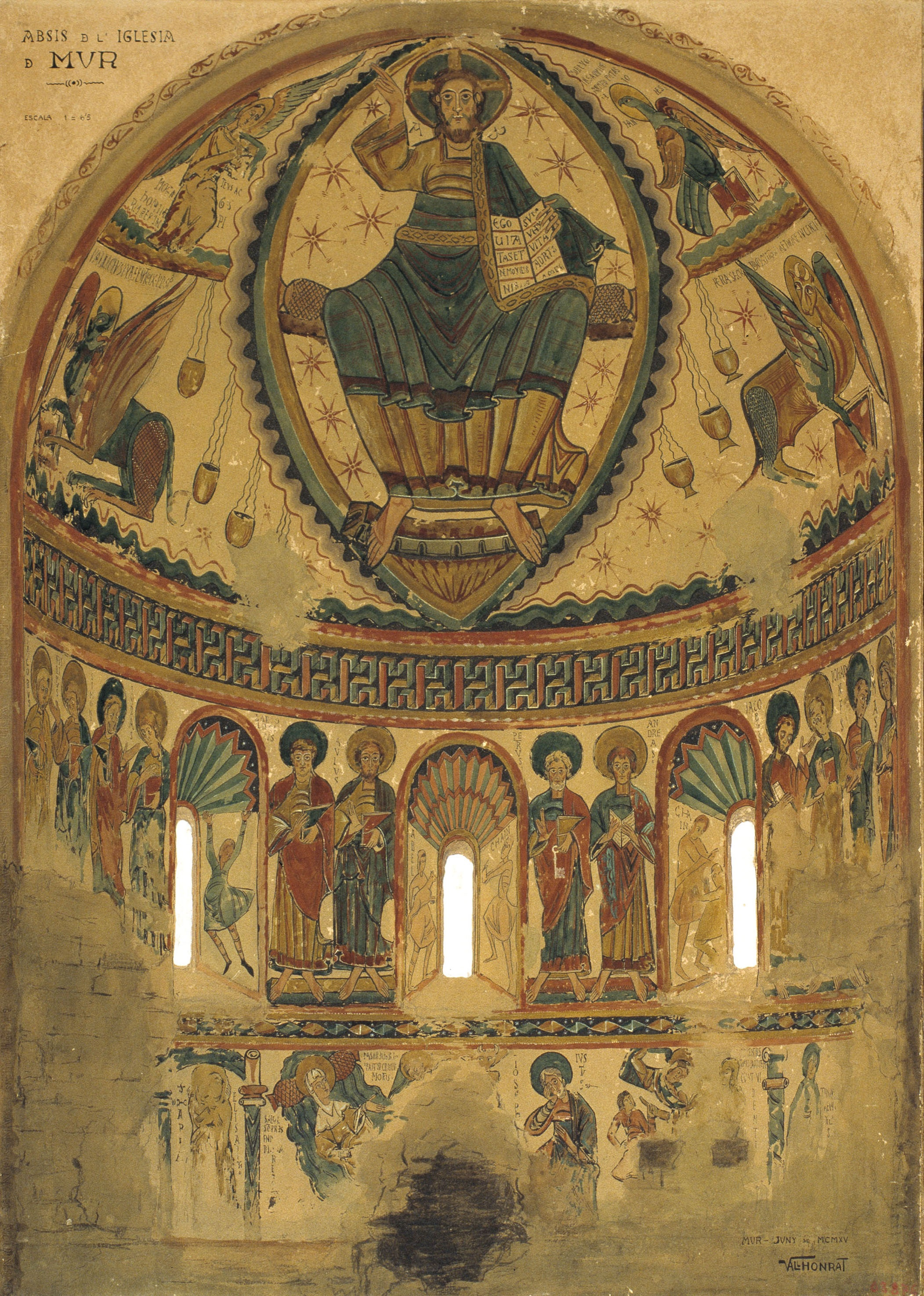 Reproducció de les pintures de l'absis de Santa Maria de Mur, Joan Vallhonrat,1915