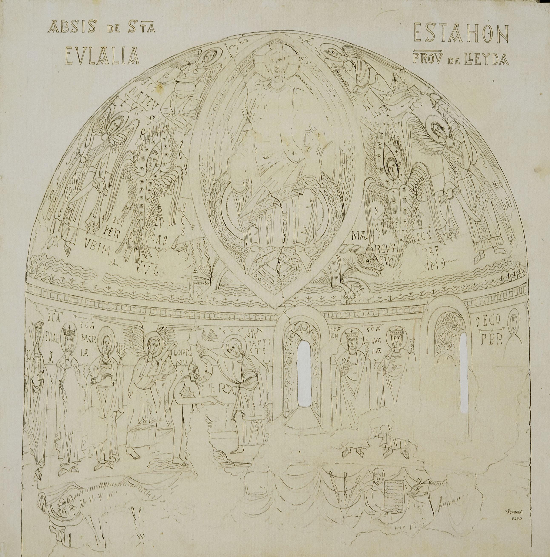Joan Vallhonrat - Reproducció de les pintures de l'absis de Santa Eulàlia d'Estaon - 1910
