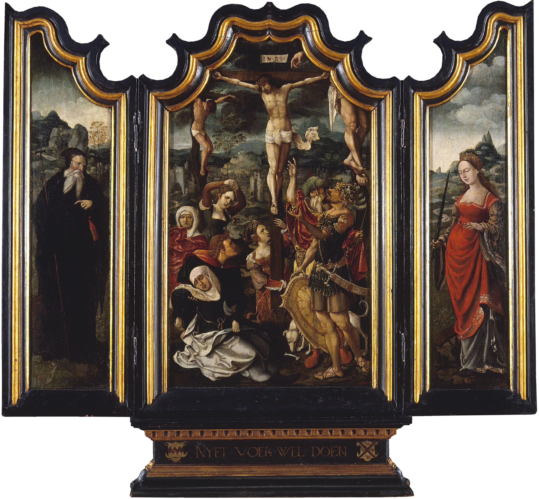 Mestre de l'Adoració von Groote - Tríptic amb Calvari, sant Antoni Abat i santa Caterina - Cap a 1520