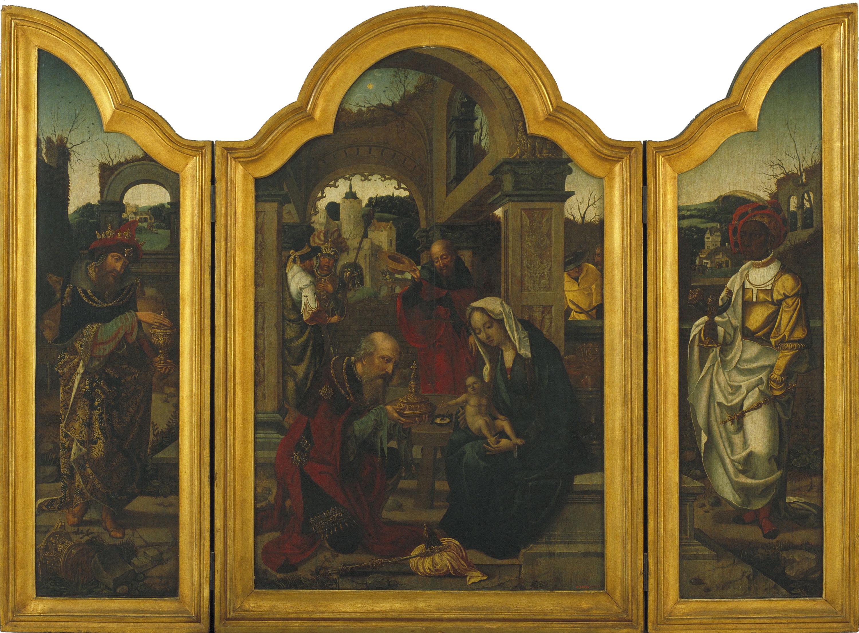 Jan van Dornicke (Mestre de 1518) - Tríptic amb l'Epifania - Cap a 1540