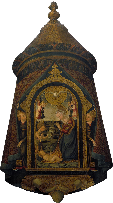Neri di Bicci - Estendard processional amb el Nen Jesús adorat per la Mare de Déu, sant Joan Baptista i àngels - Entre 1452-1492