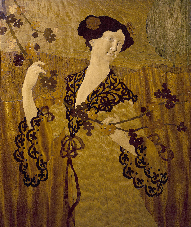Gaspar Homar - Doncella cogiendo una rama - Hacia 1905