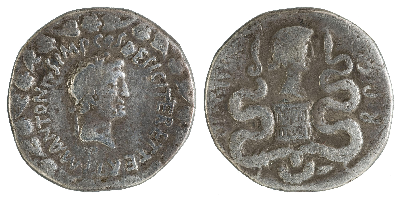 Marc Antoni, triumvir de la República Romana - Cistòfor (tetradracma) - 39 aC