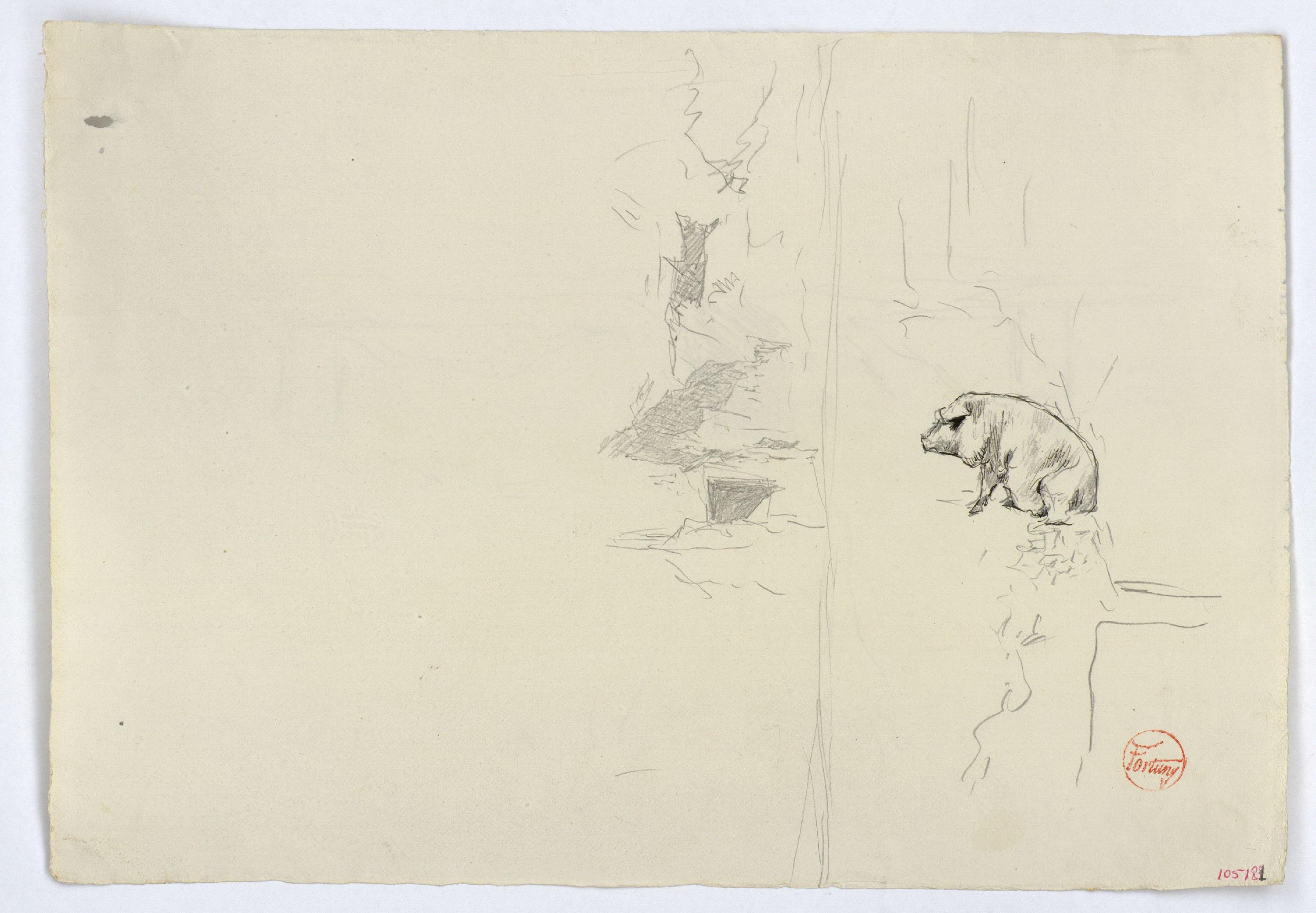 Marià Fortuny - Estudi per al quadre «Els porcs» (anvers) / Croquis inconcret (revers) - Cap a 1872