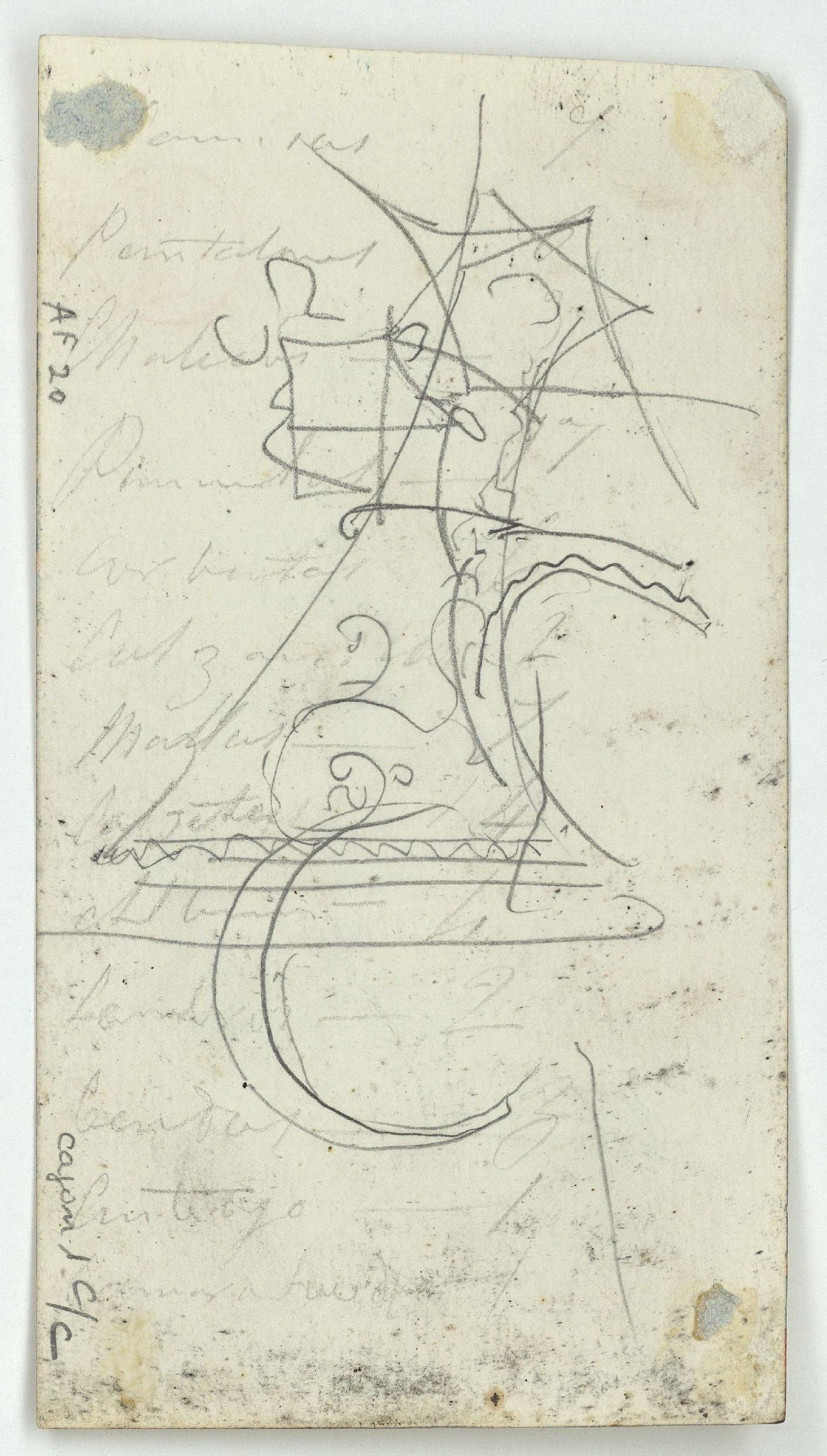 Marià Fortuny - Cap de cabra i croquis inconcrets (anvers) / Croquis inconcret (revers) - Cap a 1860-1862 [1]