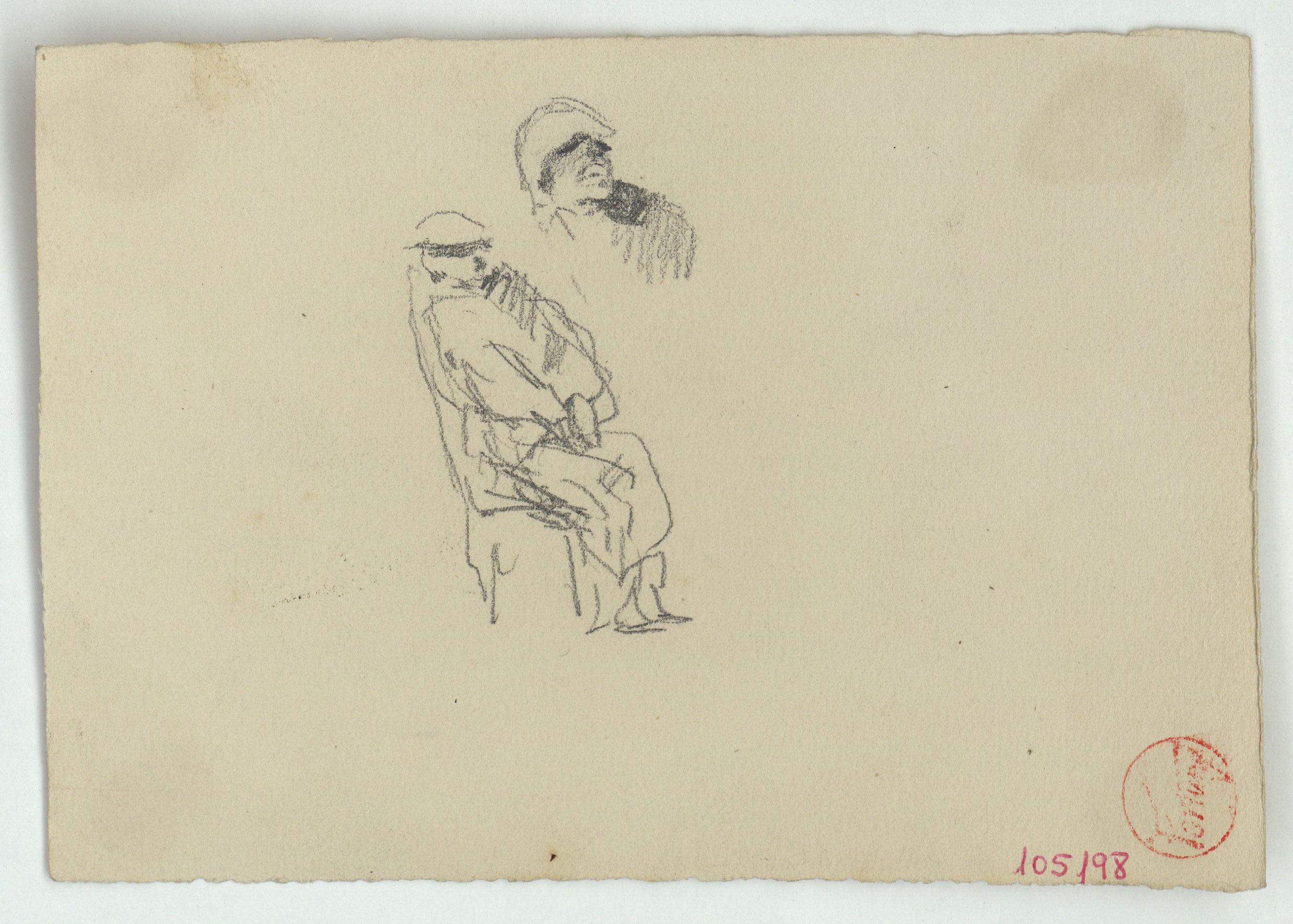 Marià Fortuny - Esbós d'un cap i figura asseguda - Cap a 1863-1867