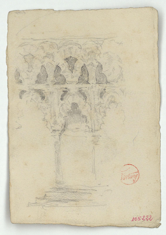 Marià Fortuny - Arcuacions d'estil musulmà (anvers) / Entrada del mihrab de la mesquita de Còrdova (revers) - Cap a 1870-1872