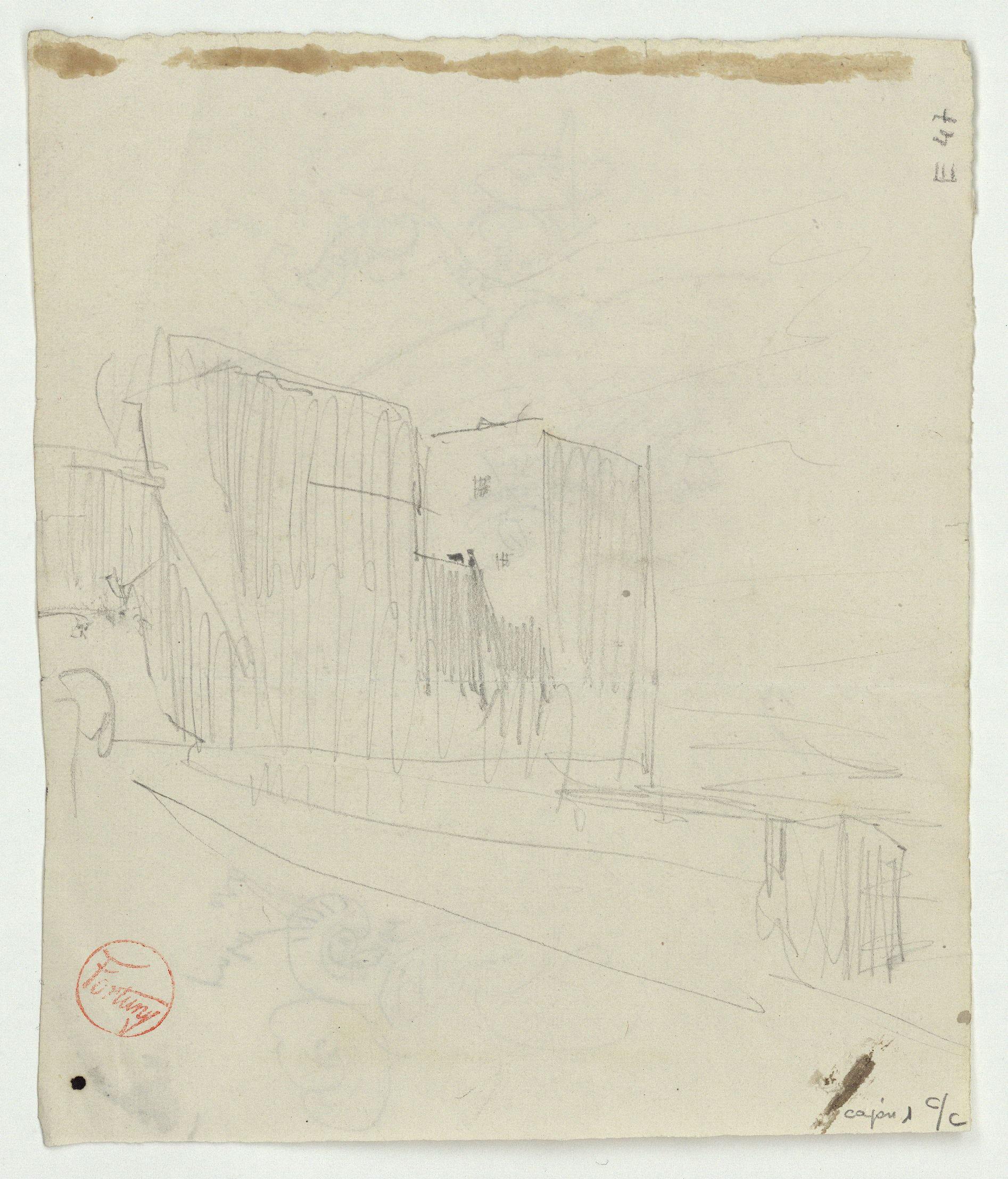 Marià Fortuny - Detalls de motius ornamentals (anvers) / Croquis d'edifici (revers) - Cap a 1860-1862 [1]
