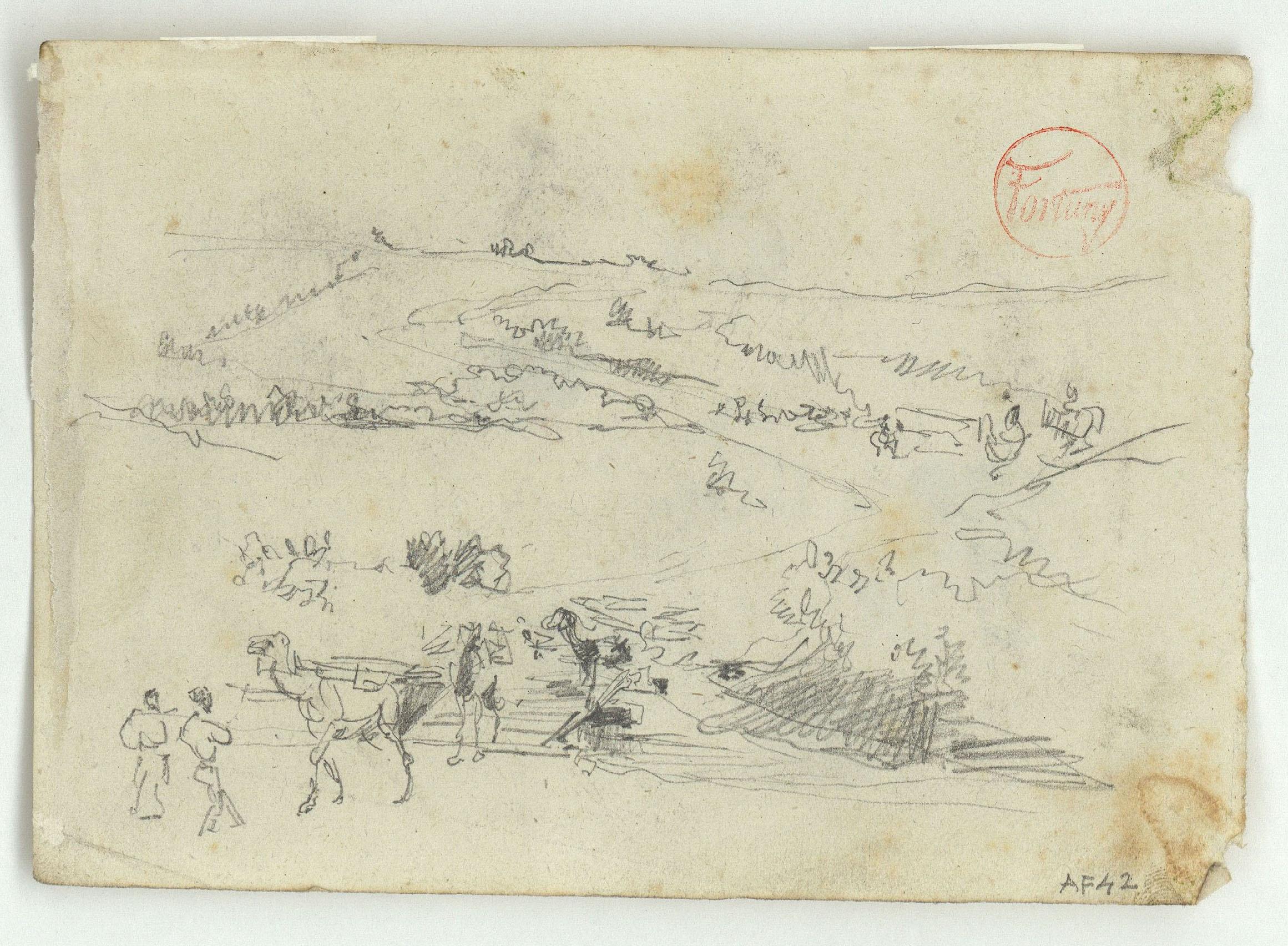 Marià Fortuny - Paisatge marroquí amb figures (anvers) / Cares de marroquins (revers) - Cap a 1860-1862