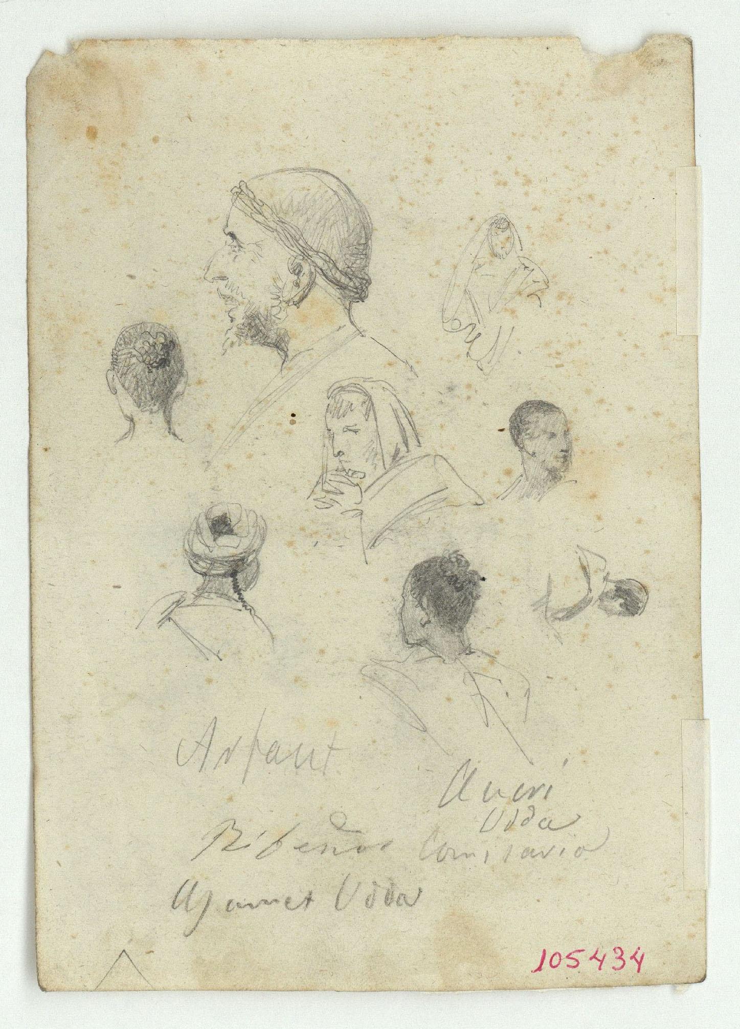 Marià Fortuny - Paisatge marroquí amb figures (anvers) / Cares de marroquins (revers) - Cap a 1860-1862 [1]
