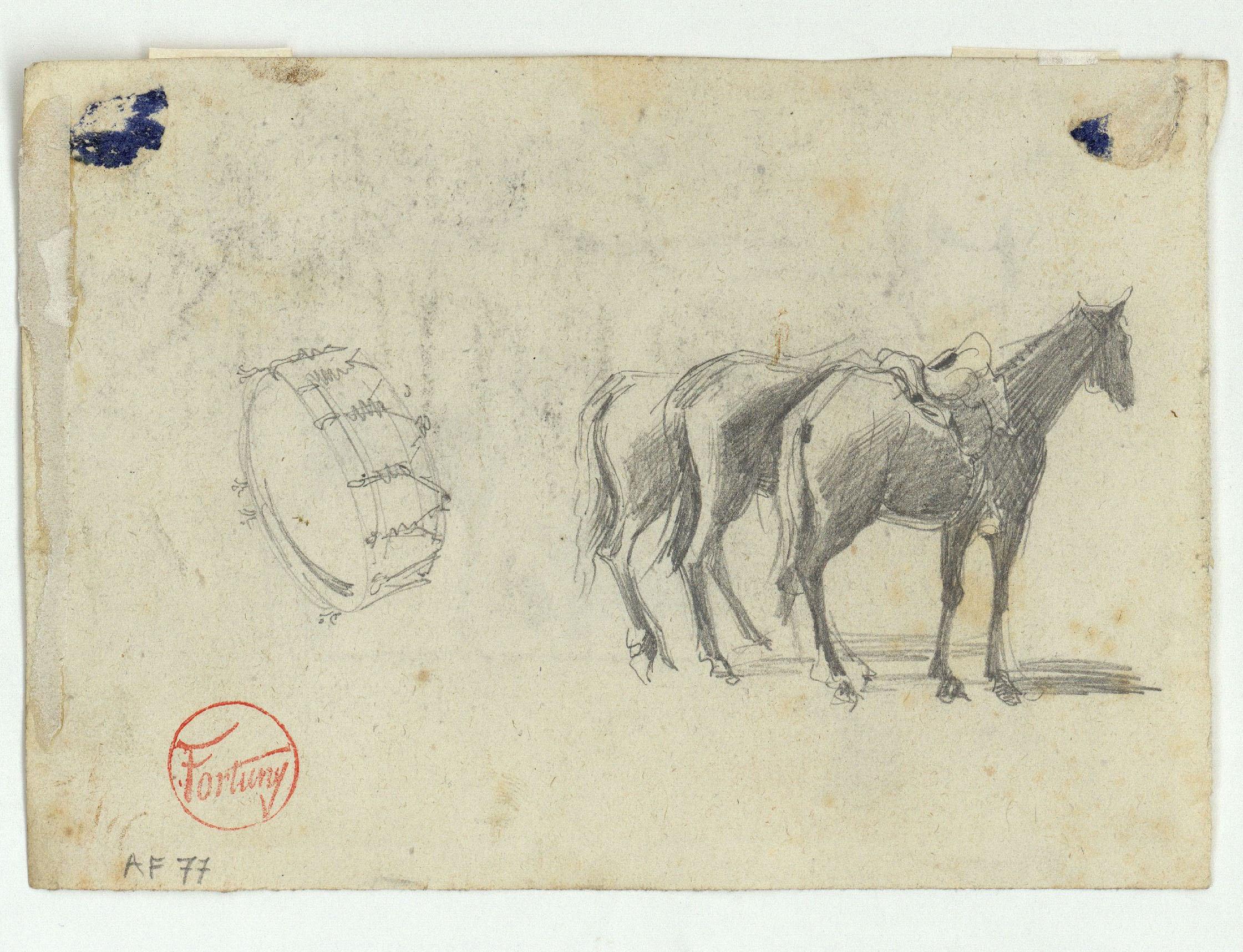 Marià Fortuny - Cavalls i esbós de marroquí (anvers) / Timbal i cavalls (revers) - Cap a 1860-1862 [1]