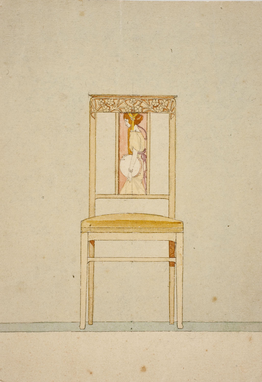 Gaspar Homar - Cadira amb marqueteria - Cap a 1904-1910