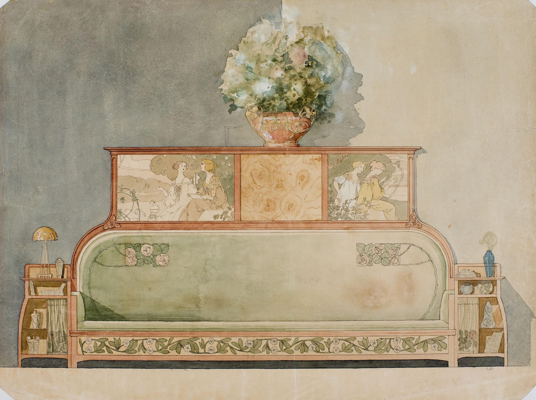 Gaspar Homar - Sofà escó amb prestatges laterals i plafons superiors amb marqueteria - Cap a 1900-1910