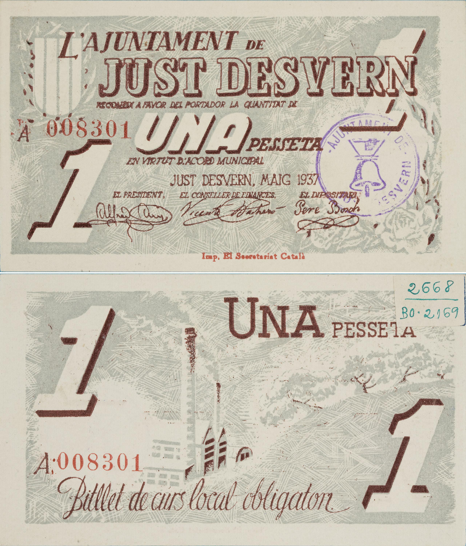 Ajuntament de Just Desvern. Sant Just Desvern - 1 peseta - May 1937