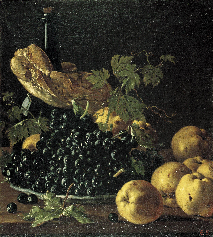 Luis Egidio Meléndez - Natura morta amb pa, pomes, raïm i una ampolla - Cap a 1771